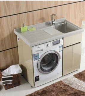 Waterproof cabinet for washer floor standing washing for Floor washing machine