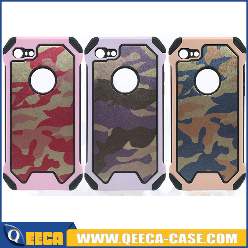 Cute Pink Purple Rose Camouflage case for iphone 7 camo case for girls Dual Layer Durable Anti-Slip shockproof back cover