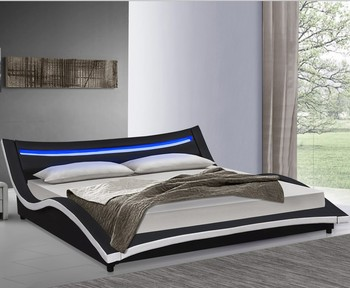 Italia style luxury curve bed super king size leather bed