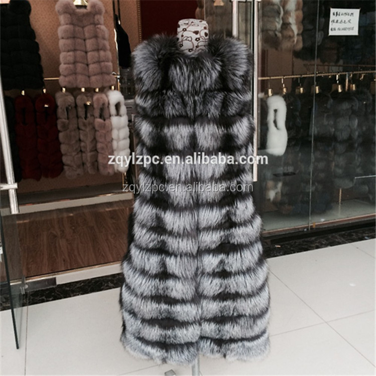 Wholesale new and fashionable 100 cm long natural silver fox fur vest for women