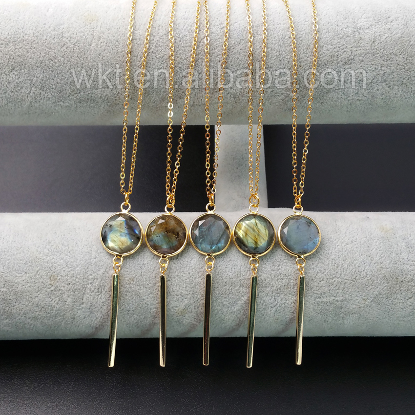 WT-N918 Wholesale fashion Labradorite With Long Gold Bar Necklace , amazing design 24K real Gold Plated Labradorite Necklace