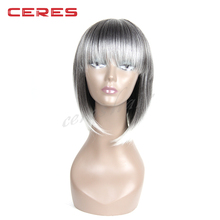 new hot style Japanese matte synthetic fiber short bob style dark roots mixed ombre grey wig