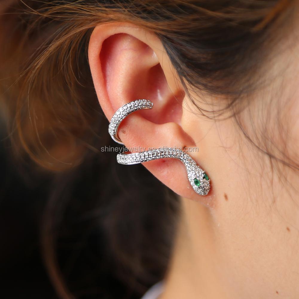 2018 No Piercing Ear Cuff Earrings Cute Animal Snake Y Women Gift European Designer Micro Pave Cz Earring Jewelry