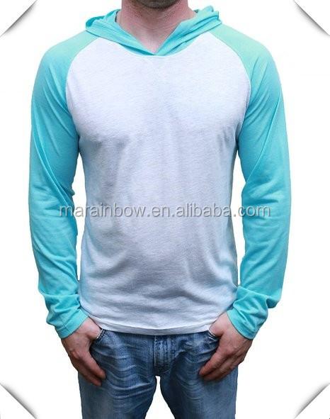 Mens raglan long sleeve hood t shirt cotton plain for Cheap plain colored t shirts