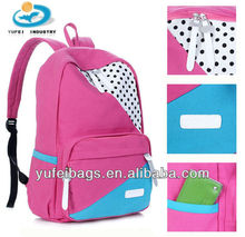 2013 latest trendy canvas backpack school bag for high school girls