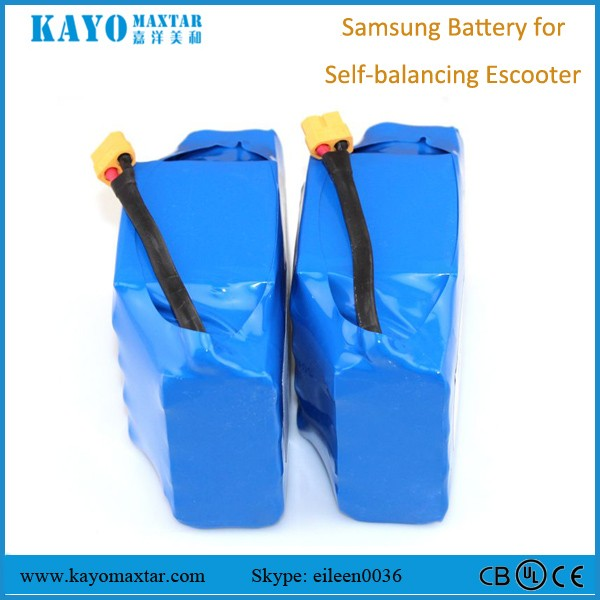 36V 4.4Ah samsung lithium battery packs with UL UN38.3 MSDS RoHS certificates for self balance scooter