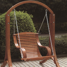 Wooden outdoor single seat swing