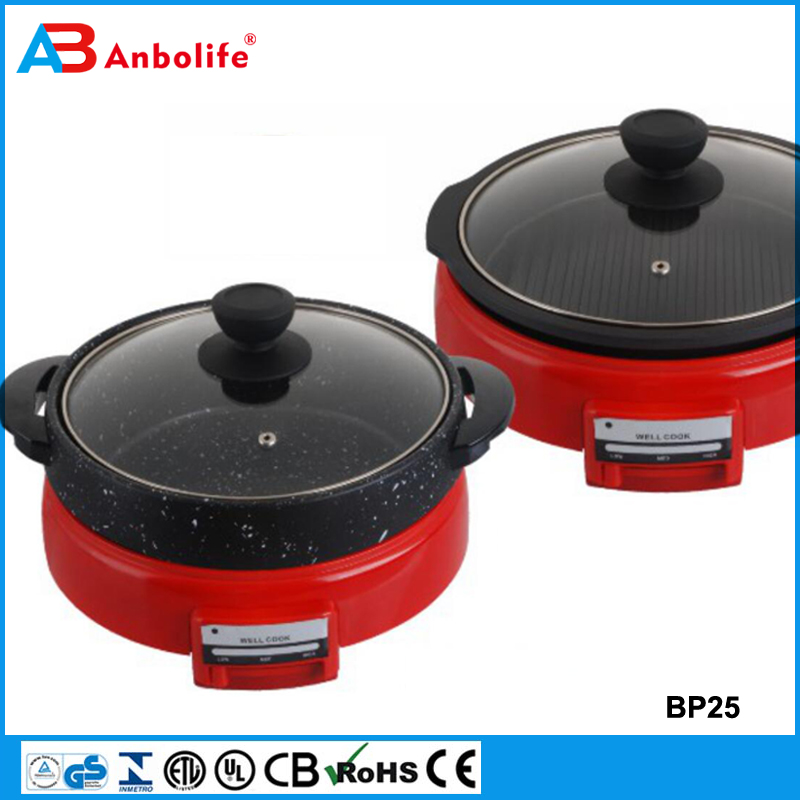 Anbo 1400Watt 14 inch hot selling electric grill & pizza pan non-stick cookware deep frying pan