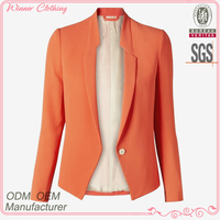 Woman fashion blazer slim fit formal/office wear orang color ladies formal blazer for lady