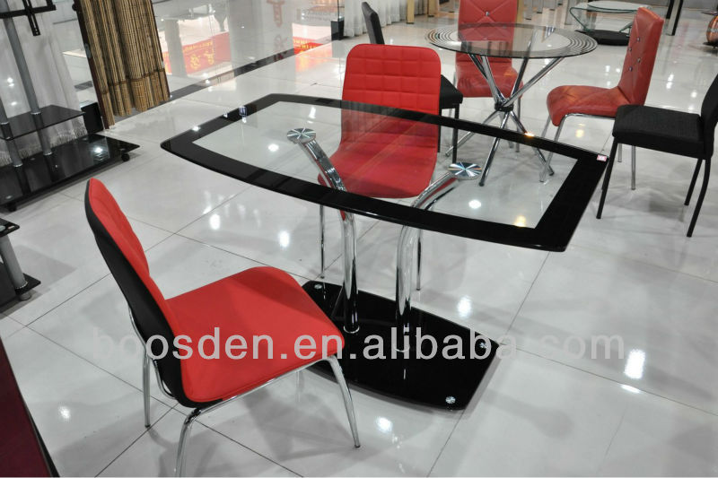Glass Top with Chromed Legs Dining Table BSD-35039