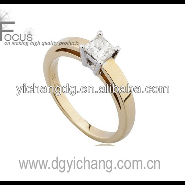 Princess Cut Solitaire Ring with Double band set