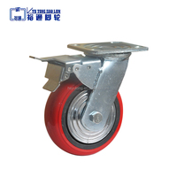 Factory supply 4'' industrial rotating brake plastic core pvc caster wheel