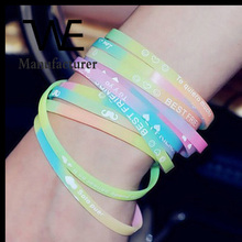 Wholesale Korean letters Luminous Silicon Movement Bangle Bracelet Cheap Jewelry Unisex
