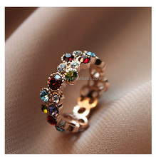 Best seller 925 sterling silver wholesale woman fashion colorized gemstone rainbow ring customized jewelry CZ