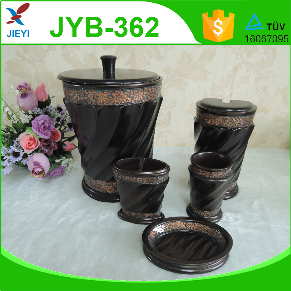5pcs dark brown brass bathroom set maosaic crackle glass for Brown glass bathroom accessories