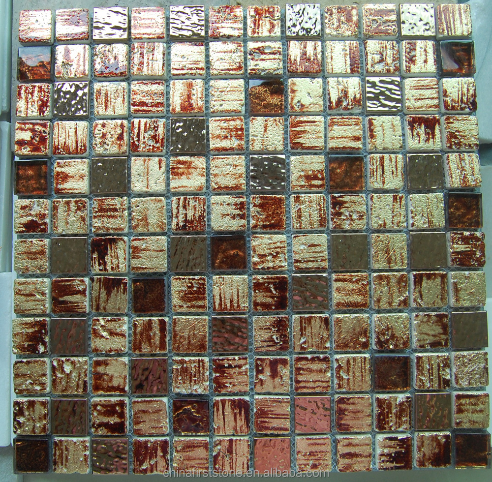 FSMT-585 Brown Glass Stone Strip Mosaic