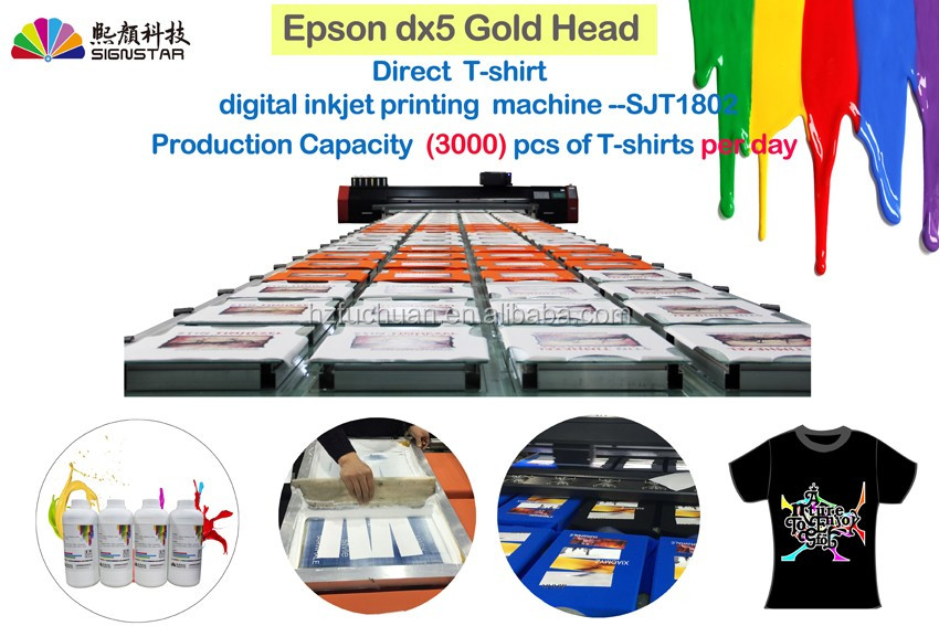 DTG High speed and high production digital direct piece to piece T-shirts printing by pigment ink with Golden dx5 print head