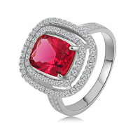 Brass 18K White Gold/Rose Gold Plated Ruby Stone Engagement Ring CRI0211