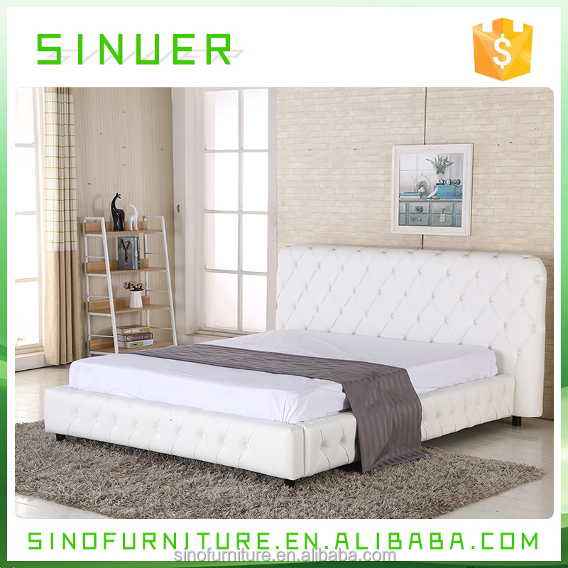 Modern French Simple White Leather King Bed Home Bedroom Furniture