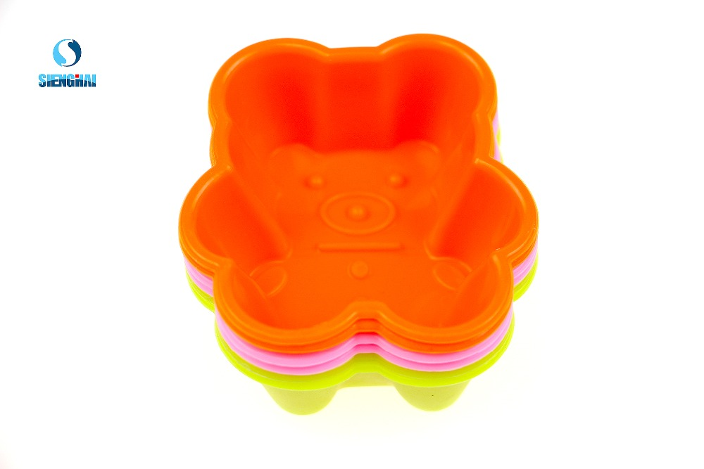 6 Pcs Silicone cake kitchen tool Bear shape cake mould silicone jelly cake mould