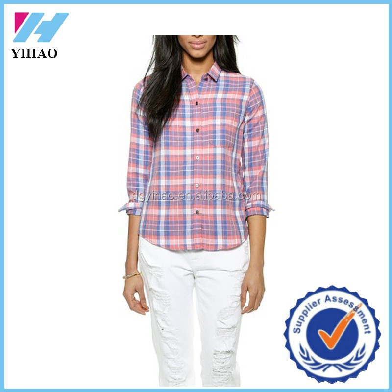 Yihao New Woman Casual Plaid Flannel Long Sleeve Shirt Blouse