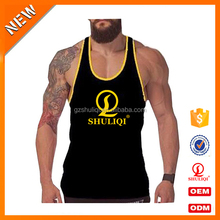 Slim fit tank top gym stringer vest wholesale fitness clothing 95% cotton 5% spandex muscle fit men vest tank custom logo