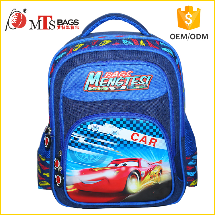 China supplier bag school backpack factory Mengtesi Bag custom car Mcqueens cartoon brand name school bags for boys