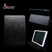 Italian leather black smooth leather case for ipad 3d image protective case for ipad case