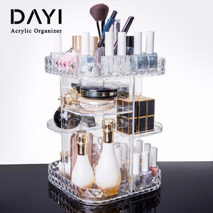 Transparent Clear Acrylic 360 Makeup Organizer Rotating Cosmetic Display