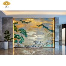 Chinese Silk Hand-Painted Japanese Bamboo River Blossom Archaistic Wallpaper