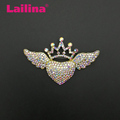 New design Zinc Alloy AB Rhinestones Heart Angle Wing Crown Brooch Pin with Gold Plated