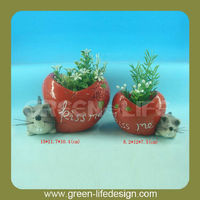 Kiss me valentine promotion heart shape flower pot with mice