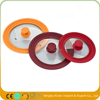 16/18/20cm 3 In 1 Mutifunction Tempered Glass Lid With Silicone Rim