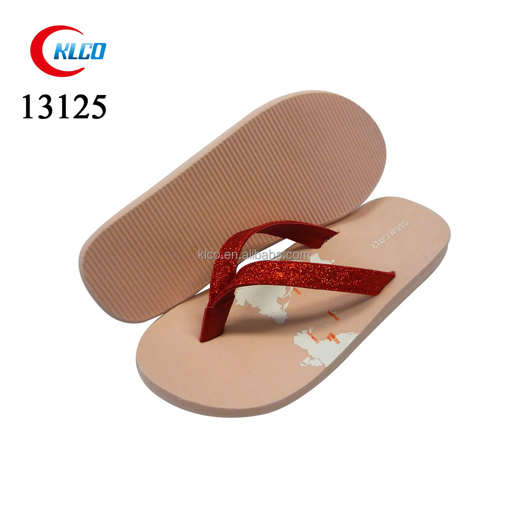 Map printing pink beach wedge EVA flip flops for kids