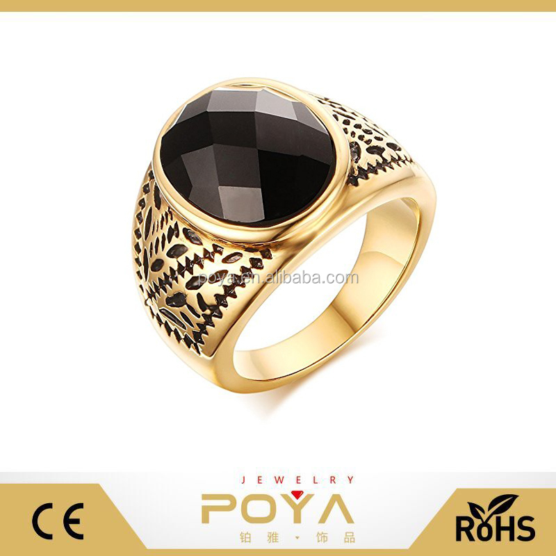 POYA Jewelry Mens Gold Stainless Steel Black Agate Ring for Wedding Band Engagement Promise
