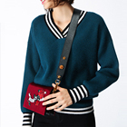 Autumn/winter 2017 new v-neck sweater women's fashion stripe knit sweater blouse