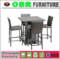 2017 discount rattan furniture wicker high top wooden bar tables and stools