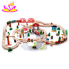 wholesale cheap 120 pcs kids educational construction toy wooden train tracks W04C074