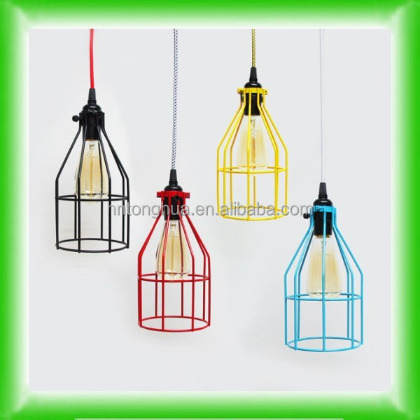 Cage Pendant Light Hanging Edison Bare Bulb Pendant Lamp Industrial cage cover Hardwired Fixture OR plug in SWAG