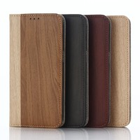 Wood Grain Leather Coated Hard Back Cover Case for Samsung Galaxy S7