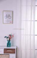 cheap hot selling beautiful style solid white sheer Voile window curtain
