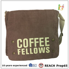 2016 brown color leisure durable Blank Canvas Sling Bag