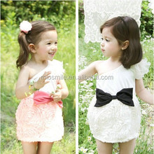 S30192W CHILDREN GIRLS WHITE LACE DRESS SINGLE SHOULDER FLOWER CROCHETED DREAMING DRESS