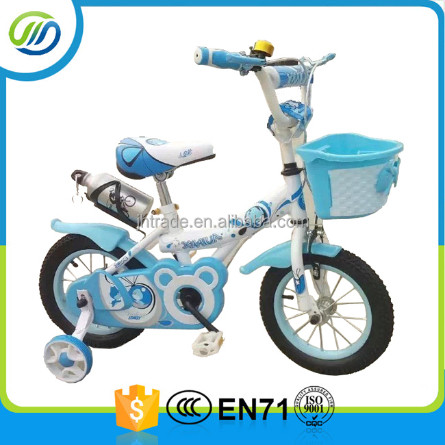 blue color with basket children bike kids bicycle