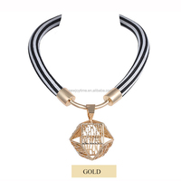 18K Gold Exaggerated Alloy Decorative Pendant Necklace Jewelry Wholesale