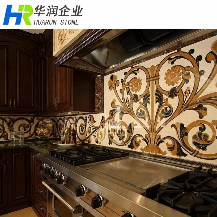 Marble tile medallion kitchen backsplash buy tile for Backsplash medallion