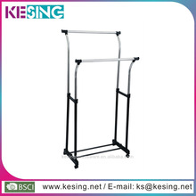 stainless steel double rail/bar adjustable telescopic rolling clothing/clothes and garment rack with wheels
