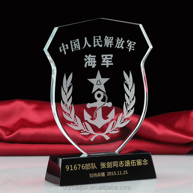 New design Plaques and awards Crystal Trophy for noble honor shield souvenir