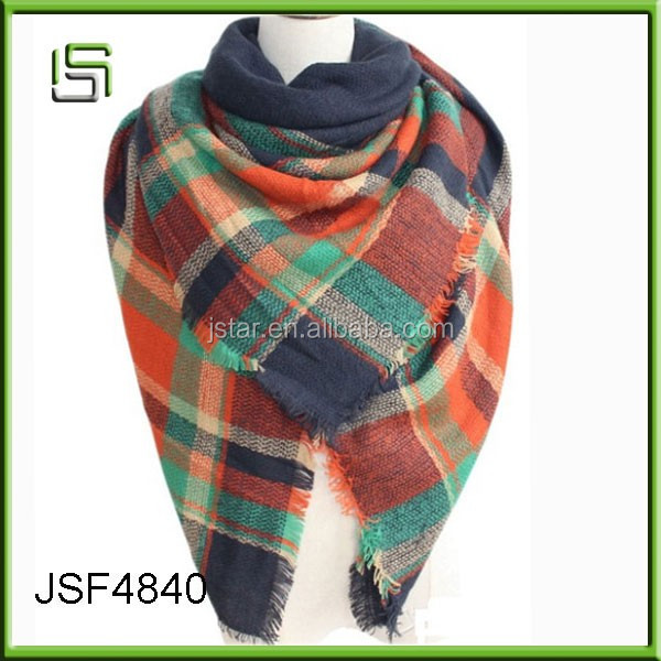 Wholesale ladies bright colors tartan blanket acrylic scarf and shawl 2016