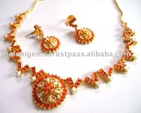 Necklace set and earring indian jewellery (Semi precious stone)